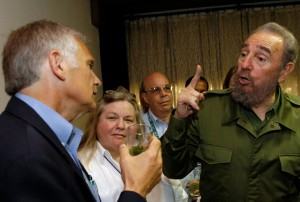 Don talks to Fidel Castro during a visit to Cuba in 2004.